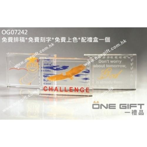 OG07242 全透明鷹形方塊水晶