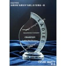 OG07093 全透明火炬紀念水晶