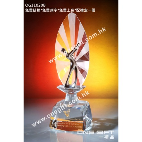 OG11020B 高爾夫球水晶連金屬人像配件
