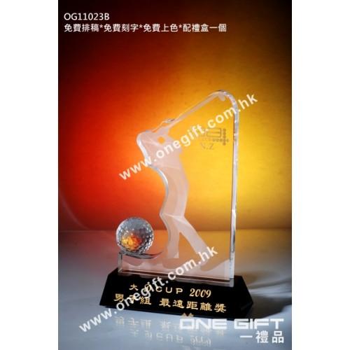 OG11023B 高爾夫球水晶配黑水晶底座
