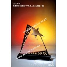 OG11046 金屬星星水晶配黑水晶底座