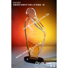 OG11052 羽毛球水晶獎座