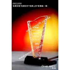 OG11058 溶冰紋紀念水晶配黑水晶底座
