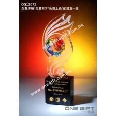 OG11072 流線形琉璃飛龍水晶獎座