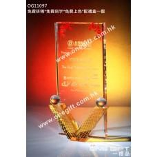 OG11097 V形勝利水晶獎座