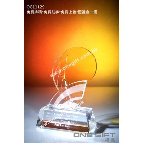 OG11129 紀念水晶連琥珀色圓形水晶配件