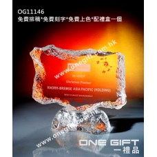 OG11146 全透明壓形冰山紀念水晶座