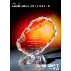 OG11147 全透明壓形冰山紀念水晶座