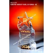 OG11159 全透明星星壓形紀念水晶