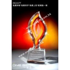 OG11177 火炬形全透明壓形水晶獎座