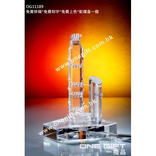 OG11188 全透明樓房模型水晶