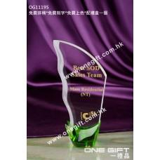 OG11195 綠色盤栽形水晶座