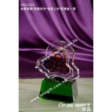 OG11221 半透明彩印水晶連綠水晶底座