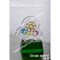 OG11222 半透明彩印水晶連綠水晶底座