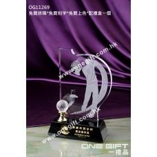 OG11269 高爾夫球水晶獎座