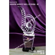 OG11270 高身高爾夫球水晶獎座