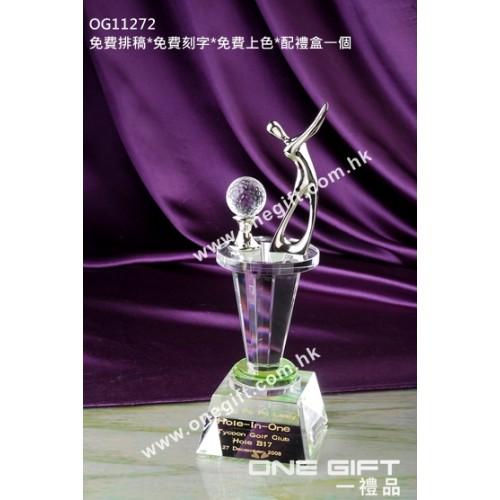 OG11272 高爾夫球水晶連金屬人像