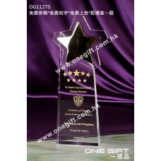OG11275 極具份量金屬星星水晶獎座