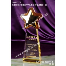 OG11276 極具份量金屬星星水晶獎座