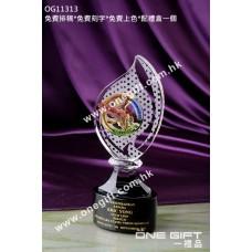 OG11313 琉璃飛鷹配樹葉形水晶