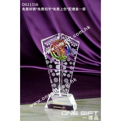 OG11316 飛鷹琉璃水晶獎座