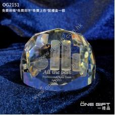 OG2151  3D鐳射內雕全透明紀念水晶座