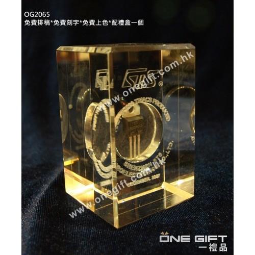 OG2065 2D鐳射內雕全透明紀念水晶  2D Laser Crystal