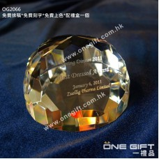 OG2066 半圓形鑽石切割水晶紙鎮 Paper Weight Crystal
