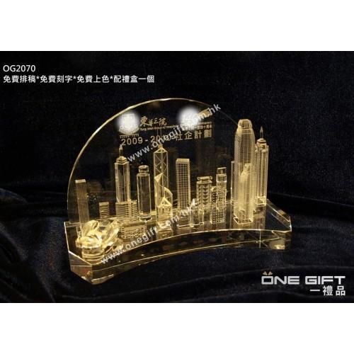 OG2070  立體香港景色水晶攞設  Victoria Harbour Crystal Stand