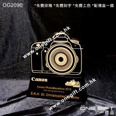 OG2090 訂造任何外形相機或攝影機水晶座 Canon Camera Trophy