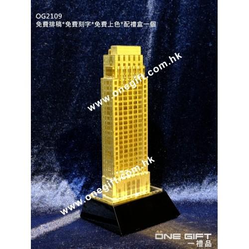 OG2109 金箔件水晶立體模型