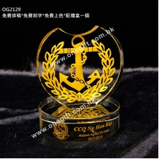 OG2129 香港海關總關員 水晶獎座 海關同事昇職或退休之用
