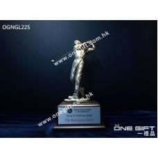 OGNGL225 高級男子高爾夫球獎座,木底座
