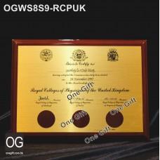 OGWS8S9-RCPUK 醫務所掛牆木證書