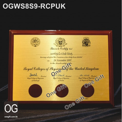 OGWS8S9-RCPUK Royal Colleges of Physicians of the United Kingdom 醫務所掛牆木證書