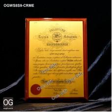 OGWS8S9-CRME 醫務所掛牆木證書