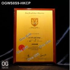 OGWS8S9-HKCP 香港內科醫學院 診所掛牆木證書