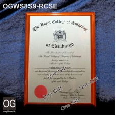 OGWS8S9-RCSE Royal College of Surgons of Edinburgh 醫務所掛牆木證書