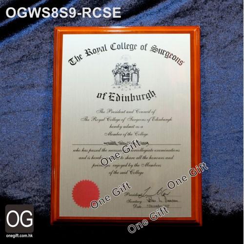 OGWS8S9-RCSE Royal College of Surgons of Edinburgh 醫務所掛牆木證書
