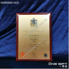 OGWS8S9-UOS The University of Sunderland 診所掛牆木證書