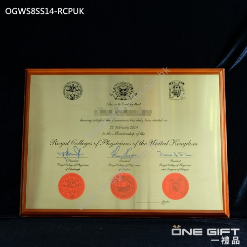 OGWS8SS14-RCPUK A3 size The Royal Colleges of Physicians of the United Kingdom 不銹鋼蝕刻 掛牆畢業金屬木證書