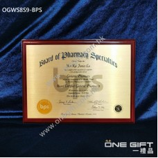 OGWS8S9-BPS Board of Pharmacy Specialties 醫務所掛牆木證書