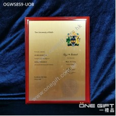 OGWS8S9-UOB The University of Bath 診所掛牆木證書