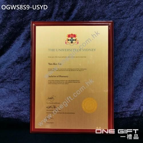 OGWS8S9-USYD The University of Sydney 診所掛牆木證書