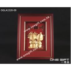 "OGLA1520-09 立體24K金箔 ""雙喜娃娃"" 掛畫"