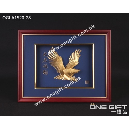 "OGLA1520-28 立體24K金箔畫 ""大展鴻圖"" 掛畫"