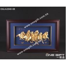 """OGLA2040-08 立體24K金箔 """"馬到功成"""" 大幅掛畫"""