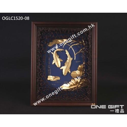 """OGLC1520-08 立體24K金箔 """"連年有餘"""" 掛畫"""